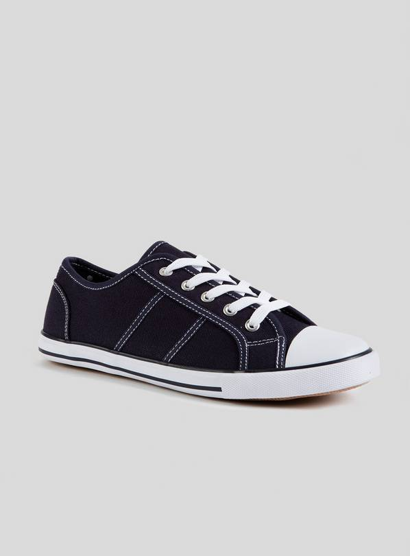 Navy Eyelet Lace Up Canvas Trainers - 5