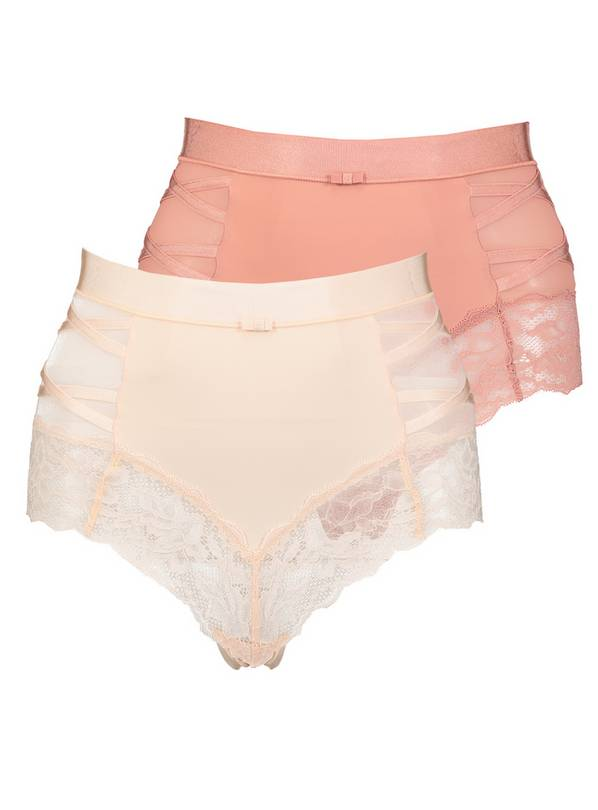 Secret Shaping Brazilian Pink Lace Trim Knickers 2 Pack - 18
