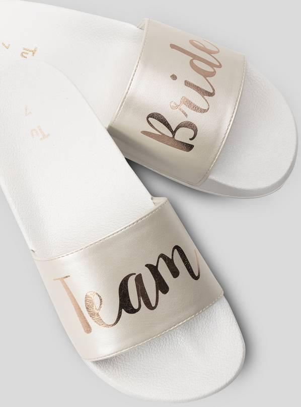 Online Exclusive White Team Bride Pool Sliders - 4