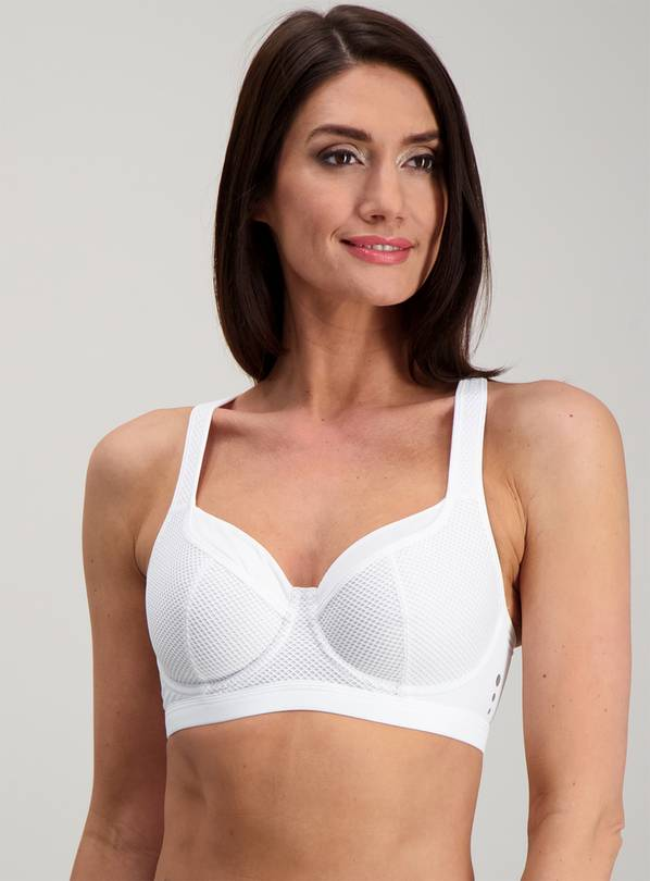 Active White High Impact Sports Bra - 40E