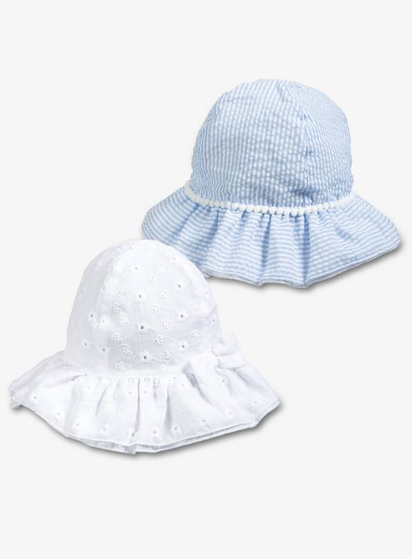Buy Blue   White Stripe   Broderie Anglaise Sun Hats 2 Pack - Up ... 5fd08826180