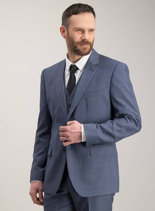 Blue Multi-Check Tailored Fit Suit Jacket - 44S