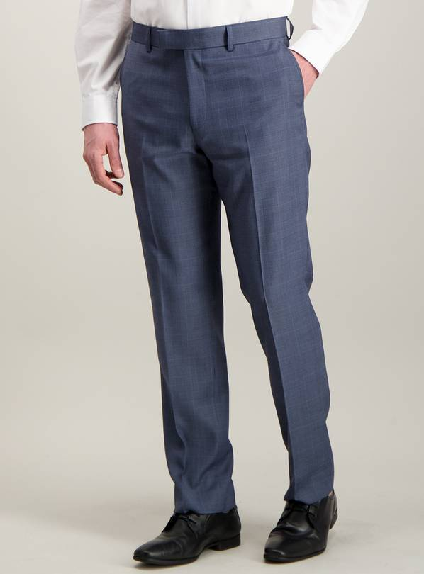 Blue Multi-Check Tailored Fit Suit Trousers - W40 L29