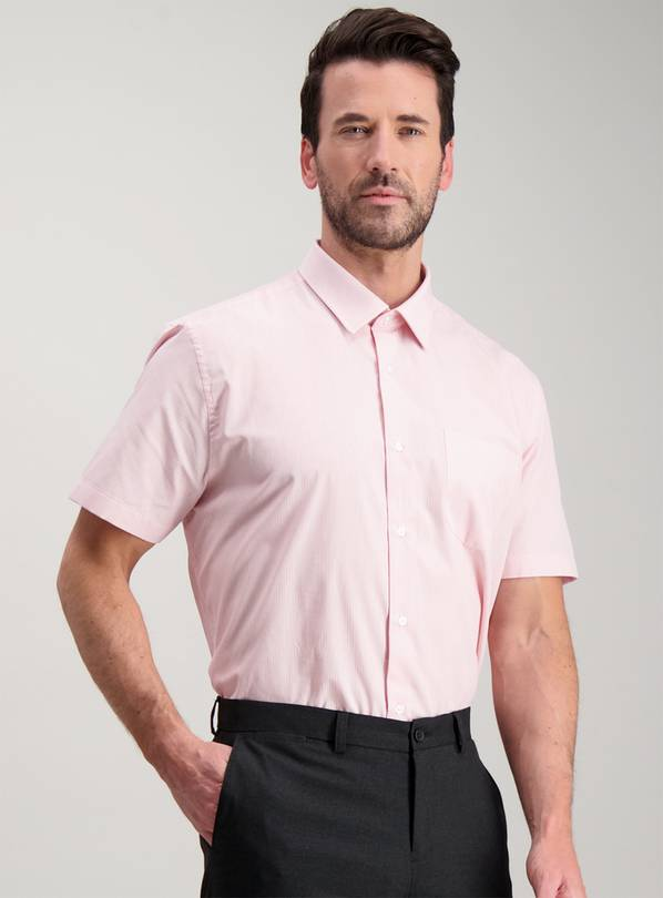 Pink Easy Iron Tailored Fit Shirts 2 Pack - 17.5