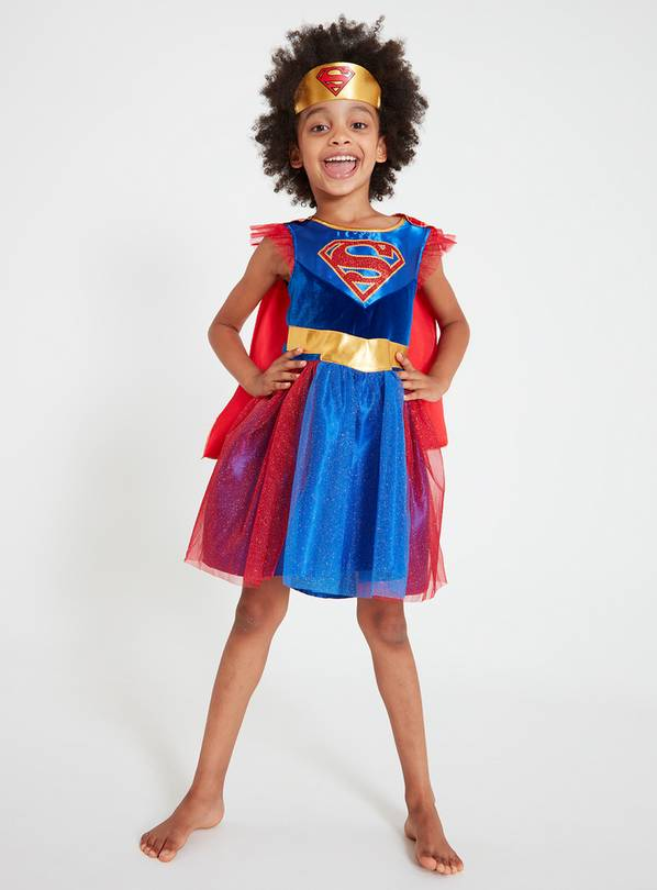 Multicoloured Supergirl Dress Up Costume - 7-8 years