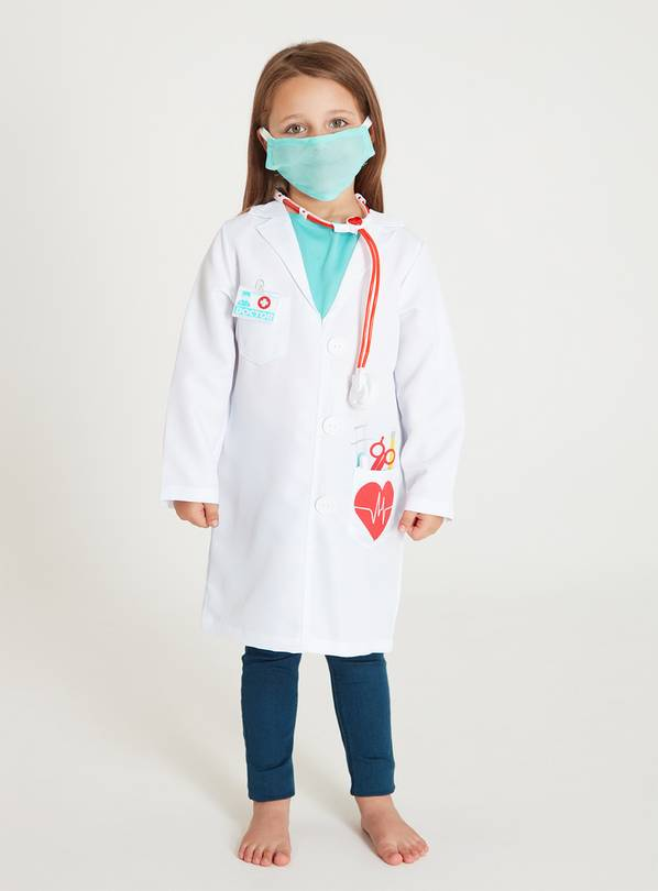 White Doctor Costume 5-Piece Set - 3-4 Years