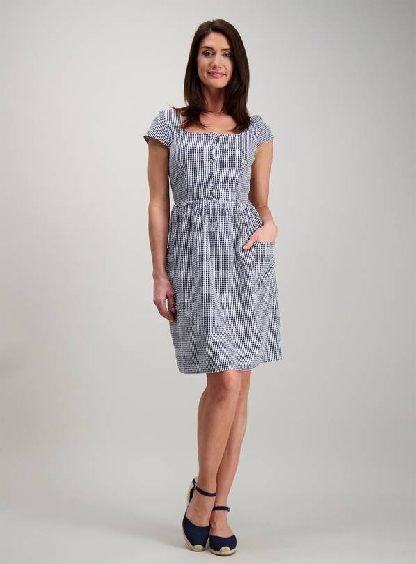 Online Exclusive Blue Gingham Button Through Tea Dress - 26