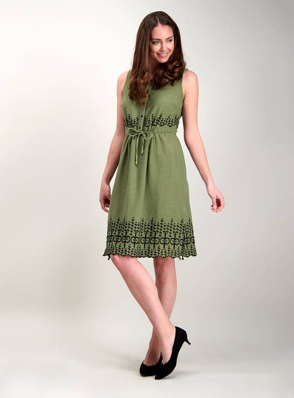 Online Exclusive Khaki Green Embroidered Sleeveless Dress -