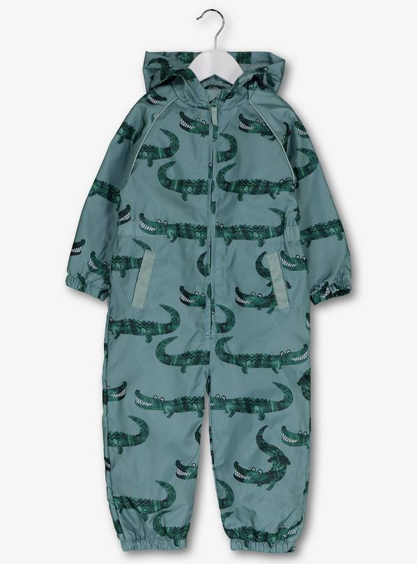 Green Crocodile Shower Resistant Puddlesuit - 5-6 years