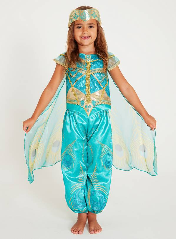 Disney Aladdin Princess Jasmine Green Costume - 7-8 years