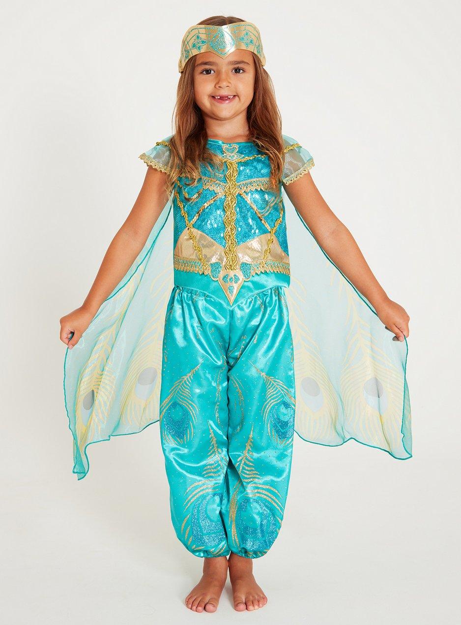 Girls Kids Aladdin Jasmine Princess Cosplay Party Tiara Turquoise Hair Headband