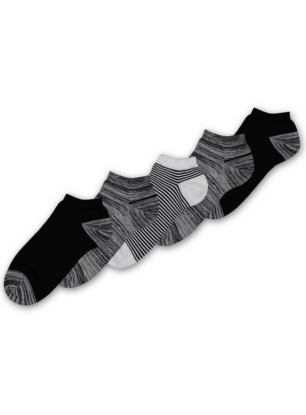 Monochrome Stay Fresh Trainer Socks 5 Pack - 6-8.5