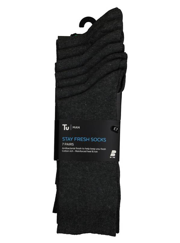 Grey Stay Fresh Socks 7 Pack - 9-12