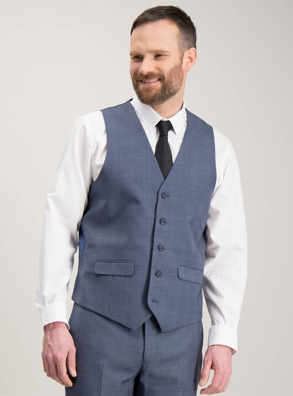 Blue Multi-Check Tailored Fit Waistcoat - 46R