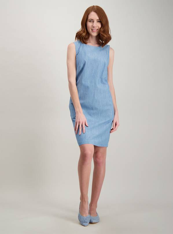 Online Exclusive Blue Chambray Shift Dress - 24