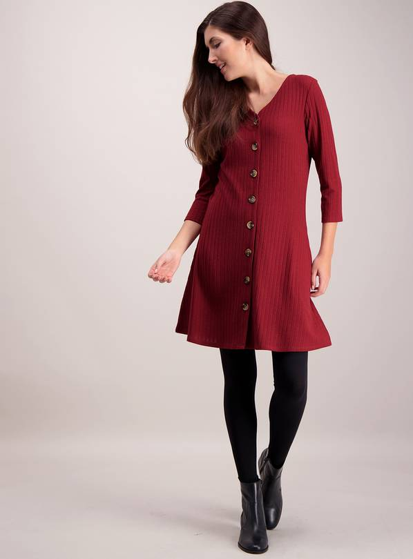 Dark Red Ribbed Button Through Dress - 28