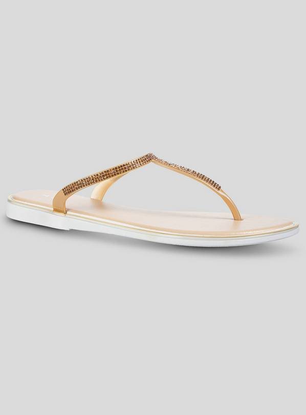 Gold & Bronze Embellished Toe Post Flat Sandals - 5