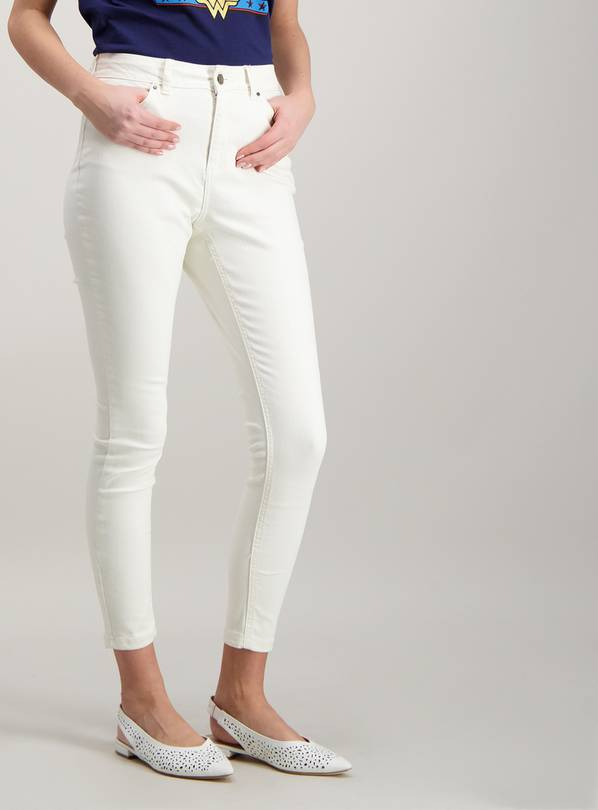 Cream Ankle Grazer Skinny Jeans With Stretch - 12S