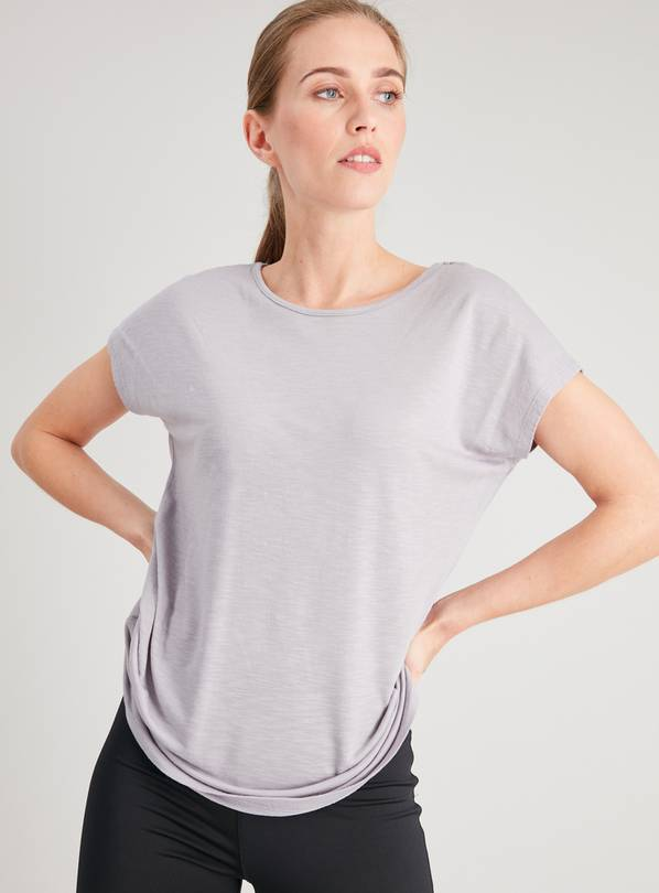 Active Grey Slub Cap Sleeve T-Shirt - 8