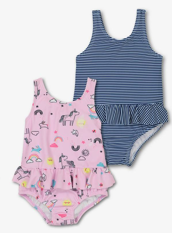 Pink & Navy Swimsuits 2 Pack - Up to 3 mths
