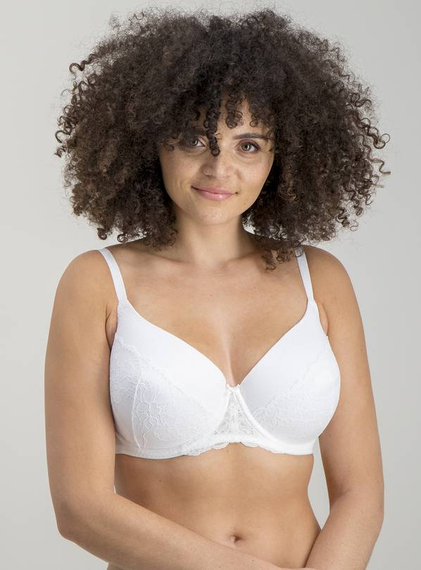 White Delicate Lace Full Cup Bra - 42D
