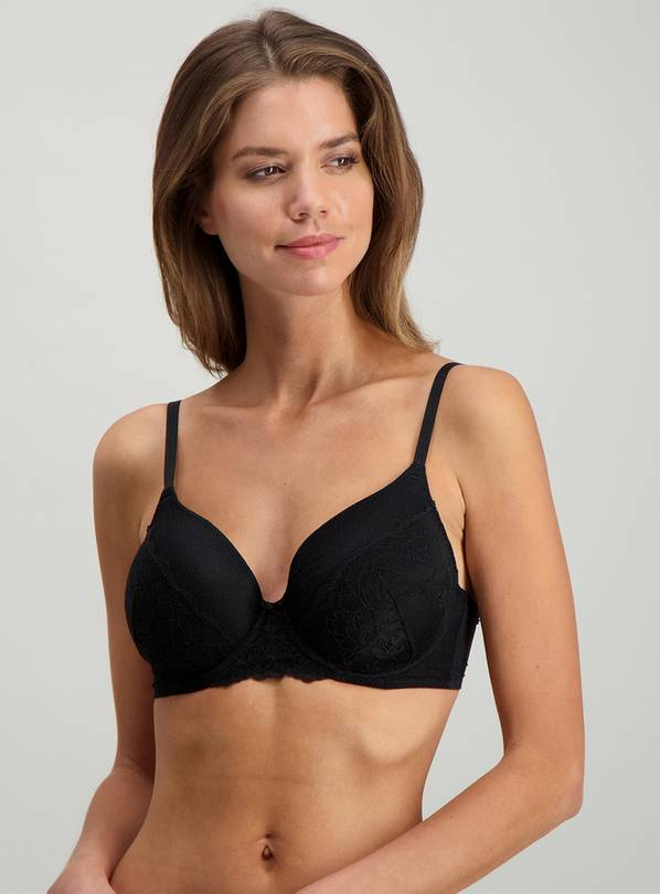 Black Delicate Lace Full Cup Bra - 32A