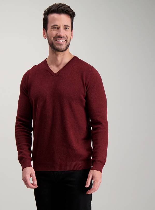 Burgundy Marl V-Neck Jumper - XS
