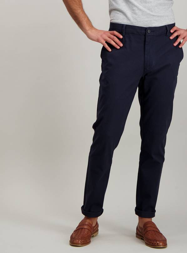 Navy Blue Skinny Fit Chinos With Stretch - W32 L30