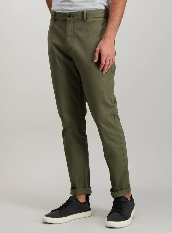 Khaki Green Skinny Fit Chinos With Stretch - W38 L34