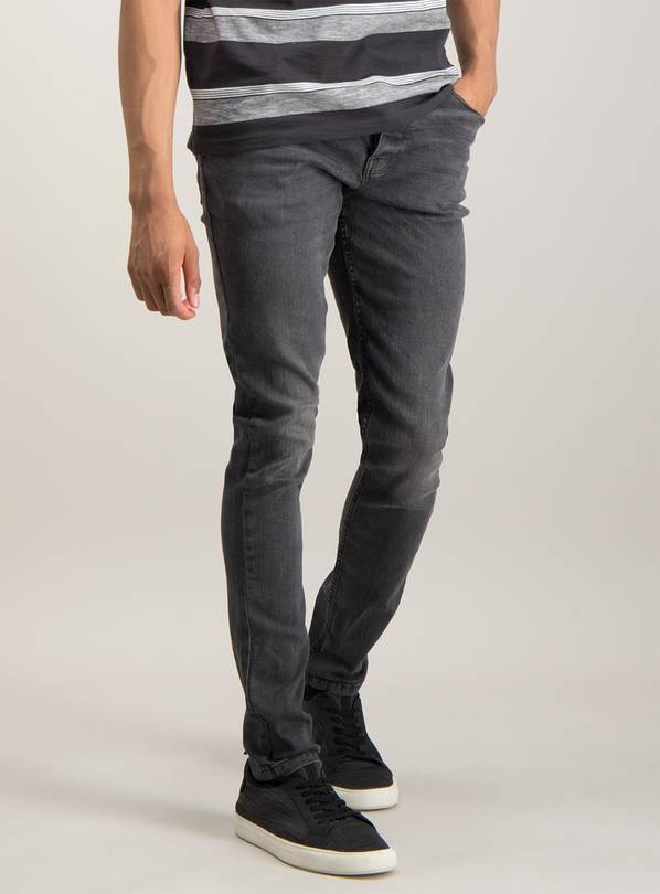 Grey Super Skinny Denim Jeans With Stretch - W32 L32