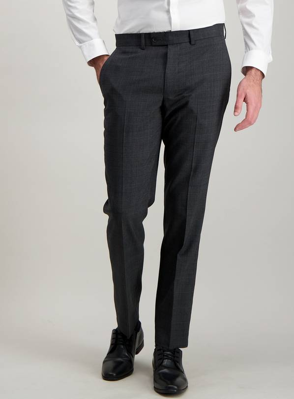 Grey Check Wool Blend Tailored Fit Trousers - W40 L31