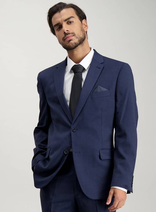 Blue Textured Wool Tailored Fit Suit Jacket - 50L