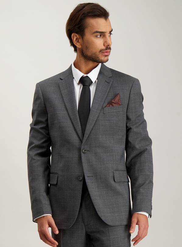 Grey Check Wool Blend Tailored Fit Suit Jacket - 50L