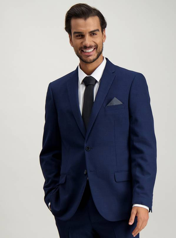 Navy Textured Wool Slim Fit Suit Jacket - 52L