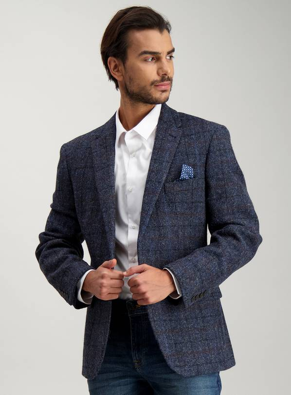 HARRIS TWEED Navy Check Tailored Wool Jacket - 42R
