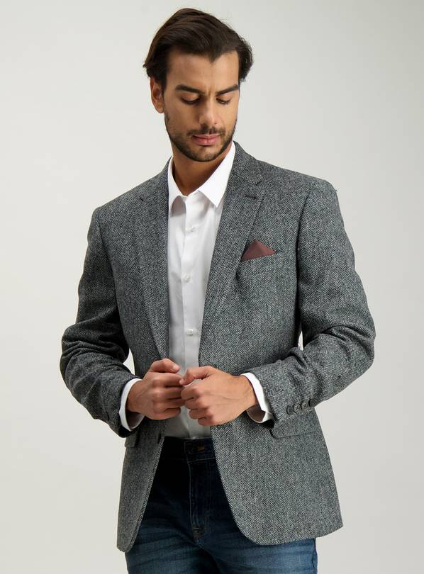 Grey Wool Herringbone Tailored Jacket - 40R