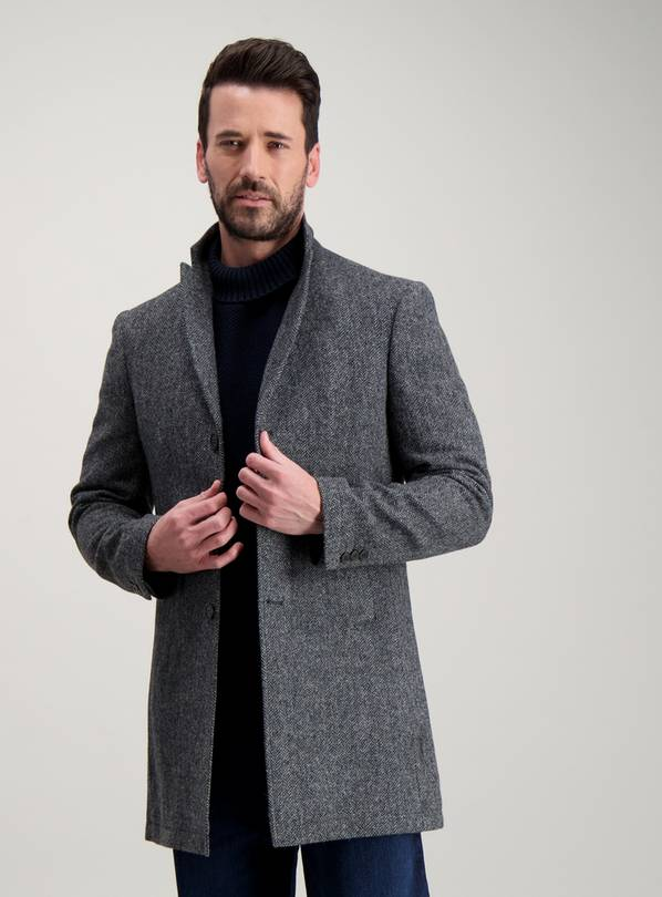 Grey British Wool Tailored Fit Herringbone Coat - XXL