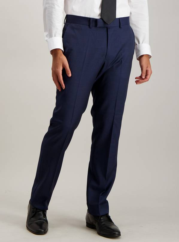 Blue Textured Wool Tailored Fit Suit Trousers - W42 L29