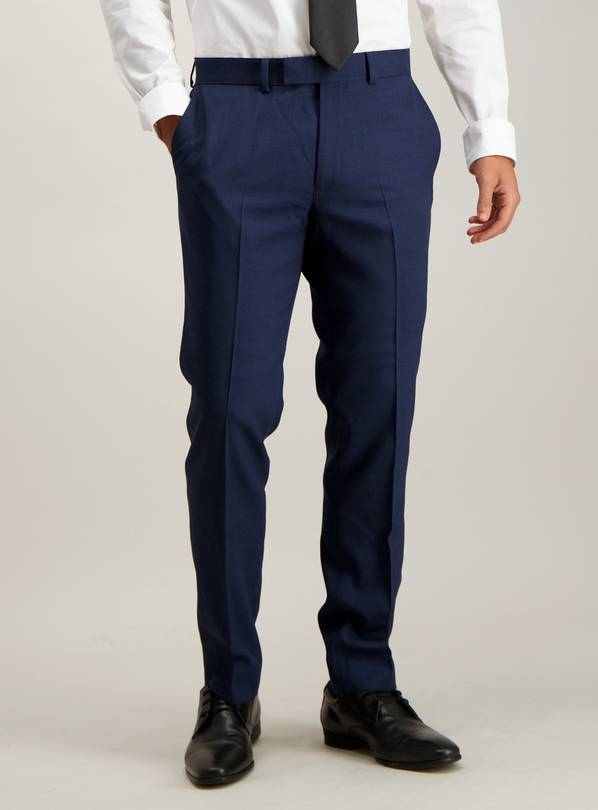 Navy Texture Wool Blend Slim Fit Suit Trouser - W46 L31