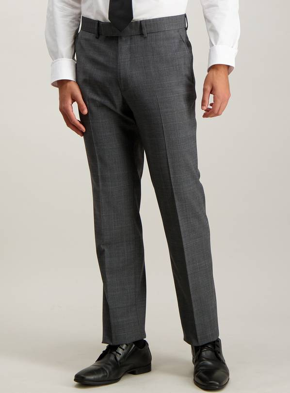 Grey Check Wool Blend Tailored Fit Suit Trousers - W42 L29