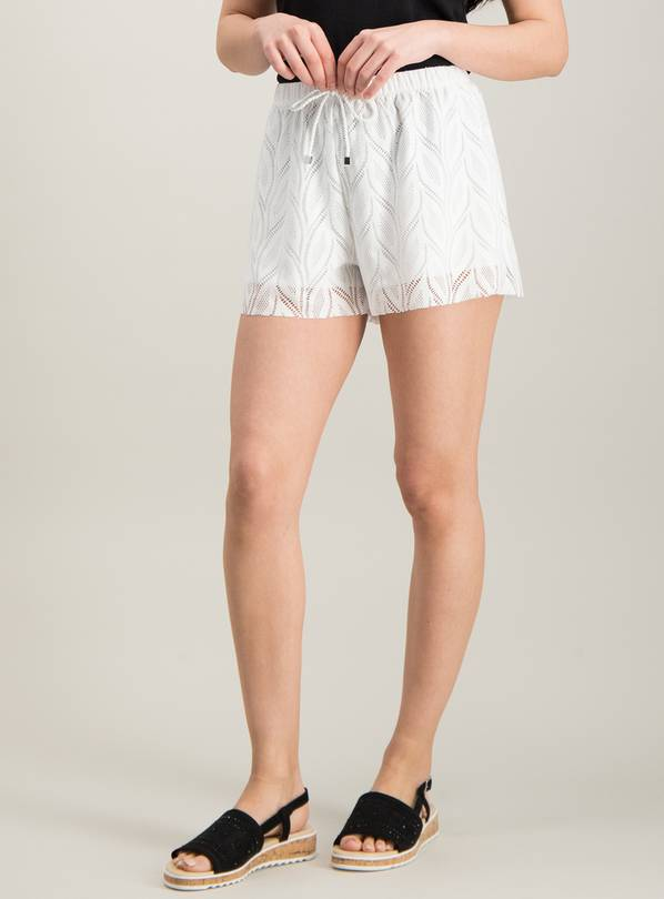 White Stretch Leaf Lace Swim Short - 22