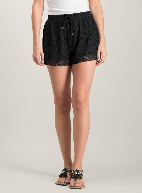 Black Stretch Leaf Lace Swim Shorts - 10