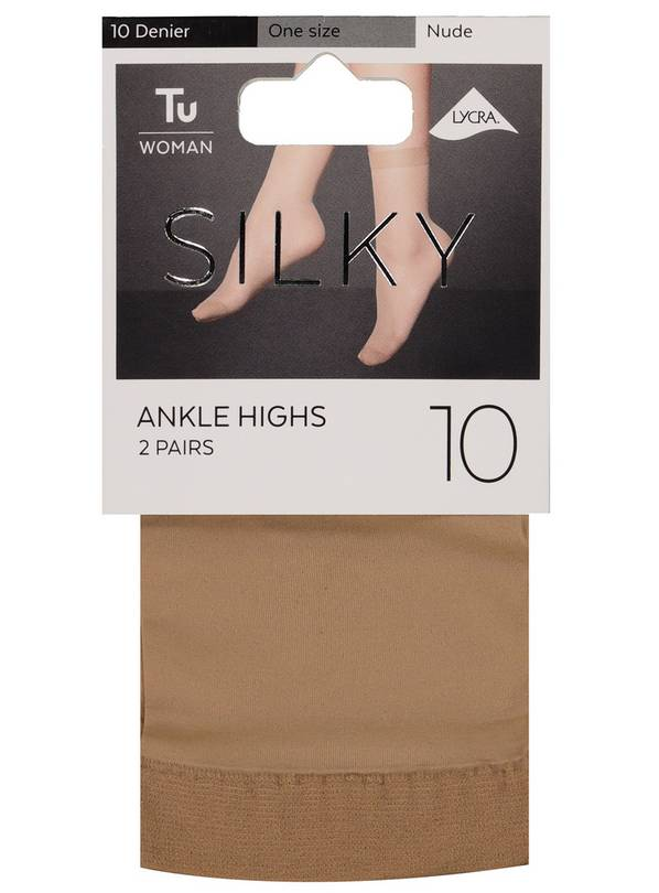 Nude 10 Denier Silky Ankle Highs 2 Pack - One Size