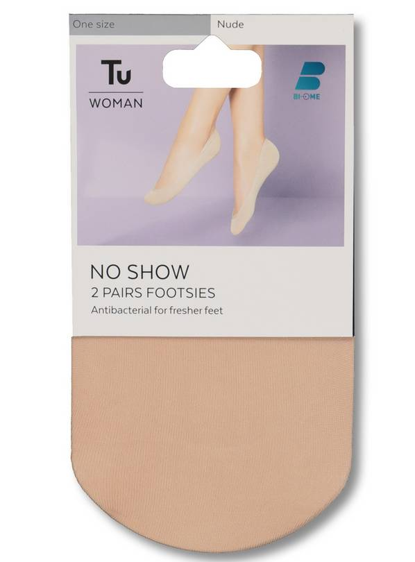 Nude No-Show Footsies 2 Pack - One Size