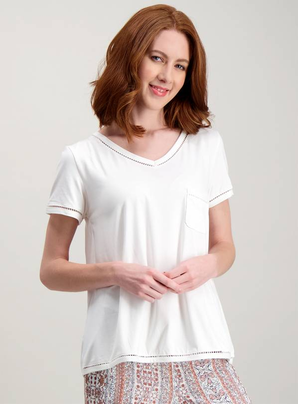 Cream Ladder Trim Short Sleeve Pyjama Top - 24