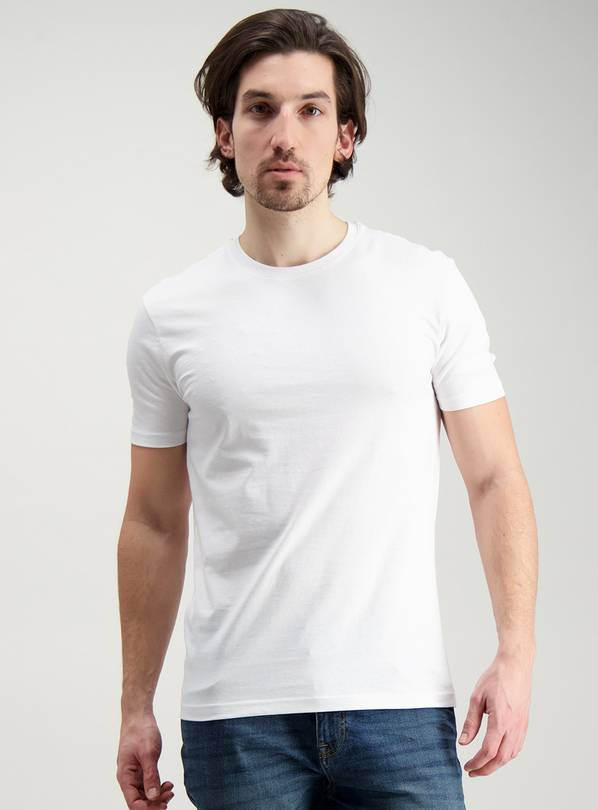 White Slim Fit Crew Neck T-Shirt - XS