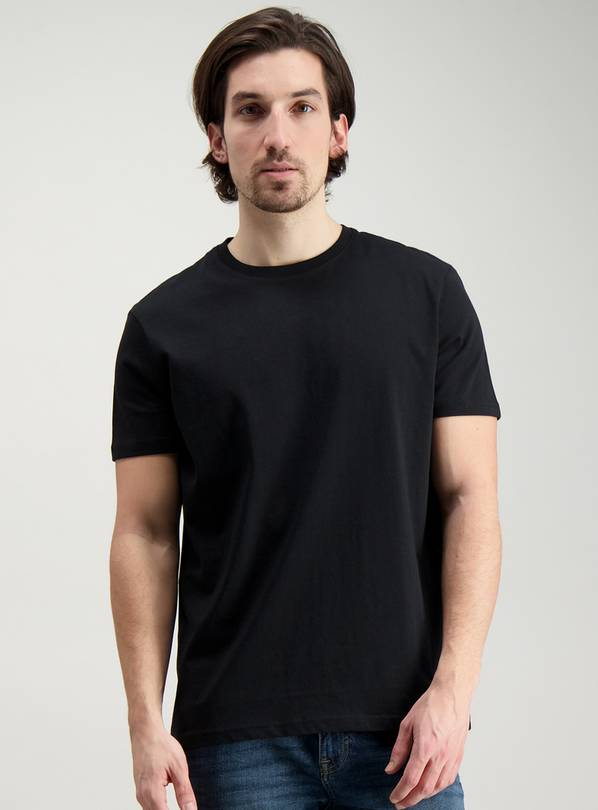 Black Relaxed Fit Crew Neck T-Shirt - XXXL