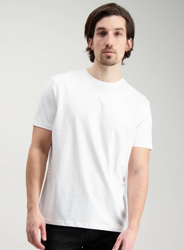 White Relaxed Fit Crew Neck T-Shirt - S