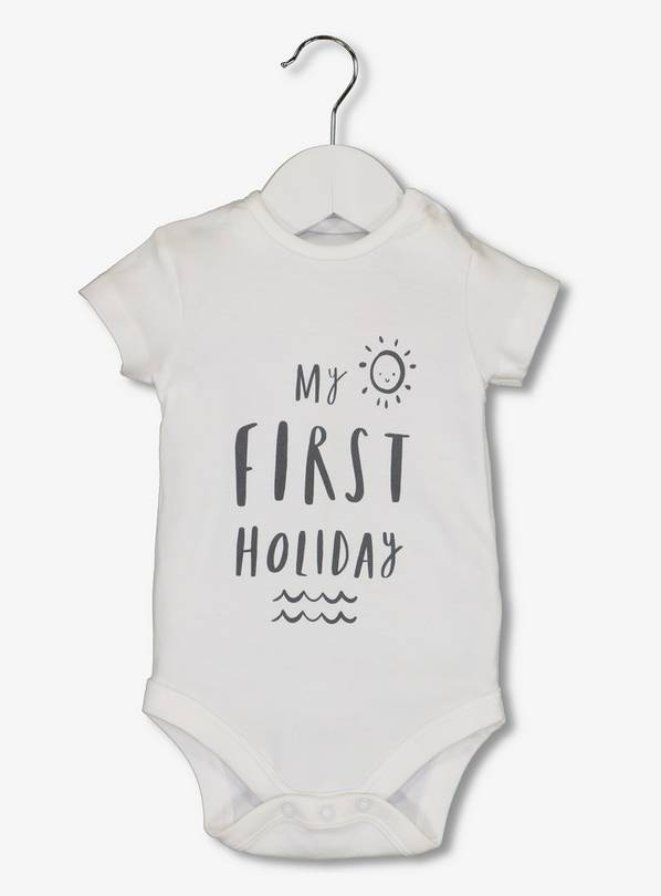 White 'First Holiday' Bodysuit - Up to 1 mth