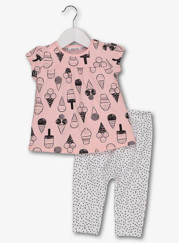 Pink & White Top & Leggings Set - Newborn
